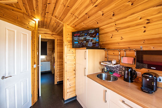 Laggan Glamping Pod interior show Netflix on TV