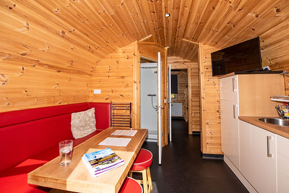 Laggan Glamping pod interior with bathroom door open