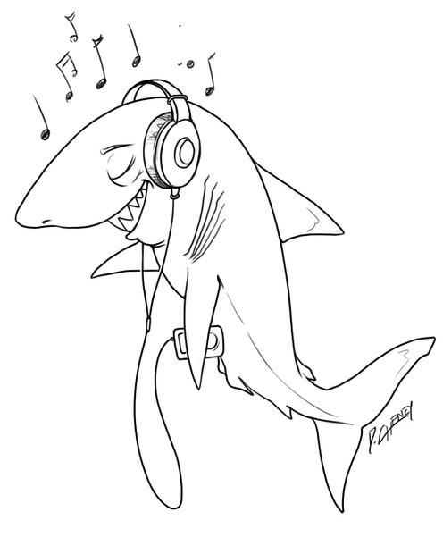 Shark Listening to Music