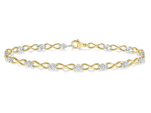 "10K Two Tone Diamond Link 7"" Bracelet"