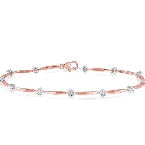 10K Rose & White Gold Diamond Bracelet