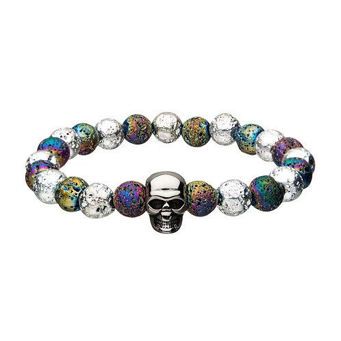 Men's Stainless Steel Lava Beads w/Skull Bracelet