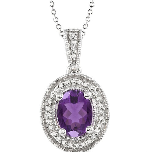Sterling Silver Amethyst & Diamond Pendant