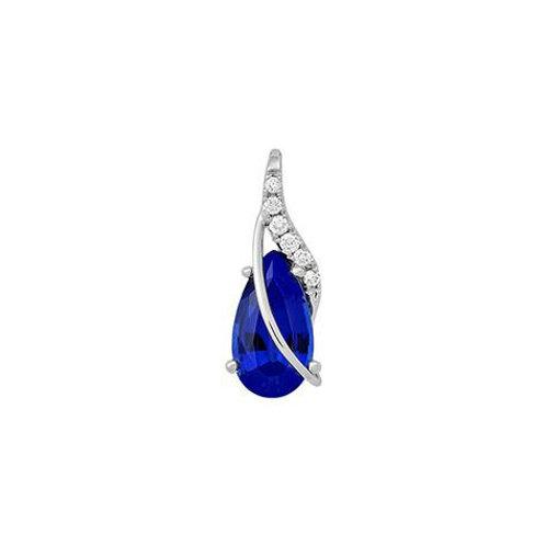14K White Gold Lab Blue Sapphire/Diamond Pendant