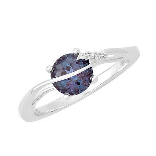 14K White Gold Lab Alexandrite & Diamond Ring