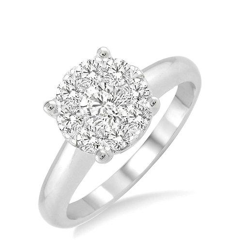 14K White Gold 1/3cttw 'WOW' Diamond Engagment Ring
