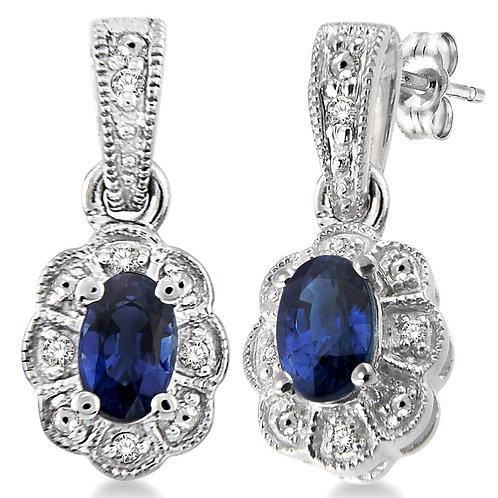 Sterling Silver Oval Sapphire & Diamond Earrings