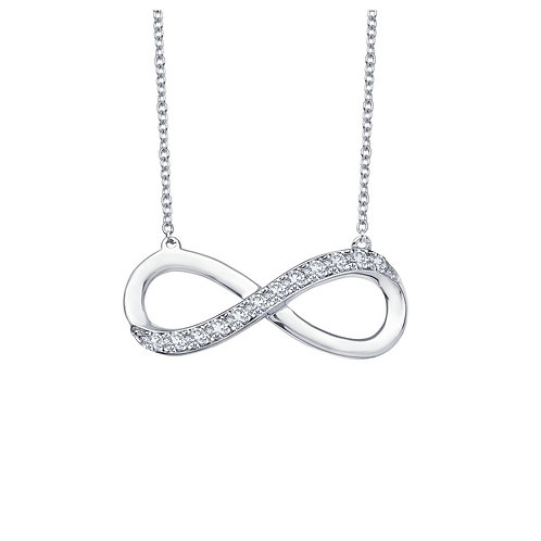 Sterling Silver .24 cttw Infinity Necklace