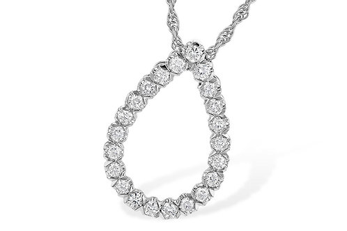 14KW 1/2ct Diamond Tear Drop Necklace
