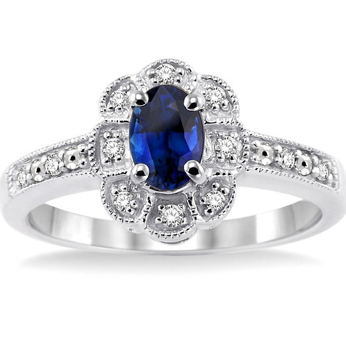 Sterling Silver Oval Sapphire & Diamond Ring