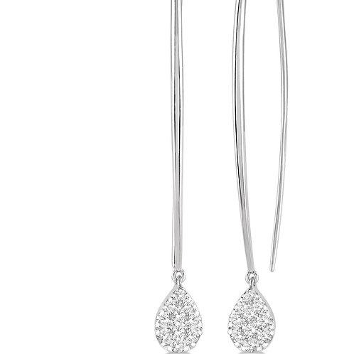 14K White Gold .50cttw Diamond Dangler Earrings
