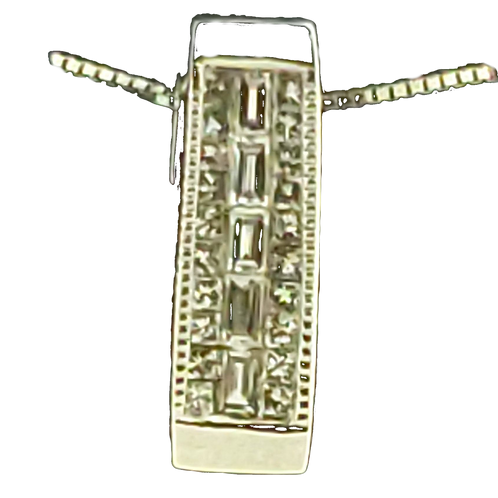 14KW .25cttw Baguette & Princess Cut Diamond Pendant