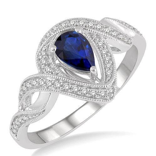 10K White Gold Pear Shape Sapphire & Diamond Ring