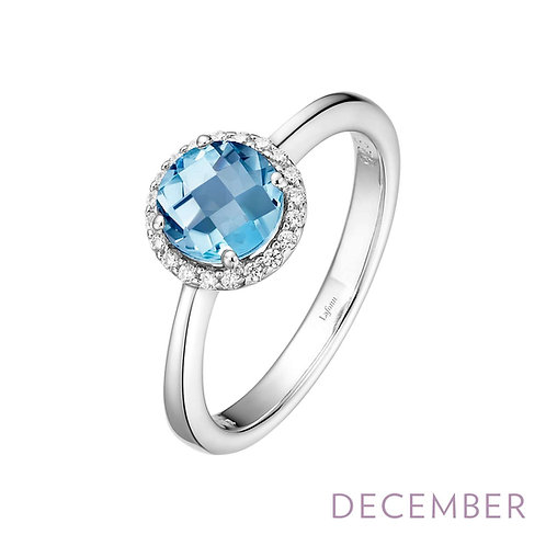 Sterling Silver Genuine Blue Topaz Birthstone Ring