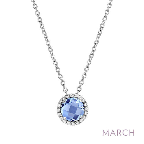 Sterling Silver March Birthstone Pendant