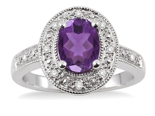 Sterling Silver Oval Amethyst & Diamond Ring