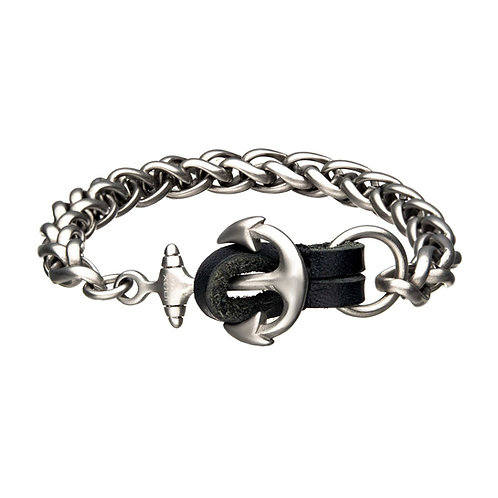 Men's Stainless Steel/Leather Bracelet
