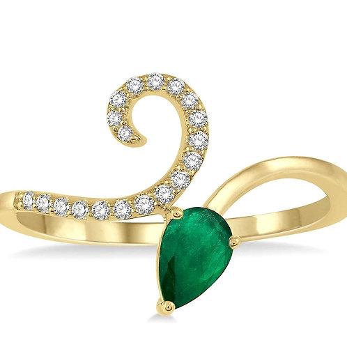 Pear Shape Emerald & Diamond Ring