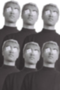 The image is a digital collage of 6 of the same black and white image of Oscar, a mixed race man in his twenties with short dyed blonde hair. He is wearing a dark turtle neck and squares of white paper over his eyes. The identical images overlap and are placed three alongside each other and three more in a row behind. The background is white.