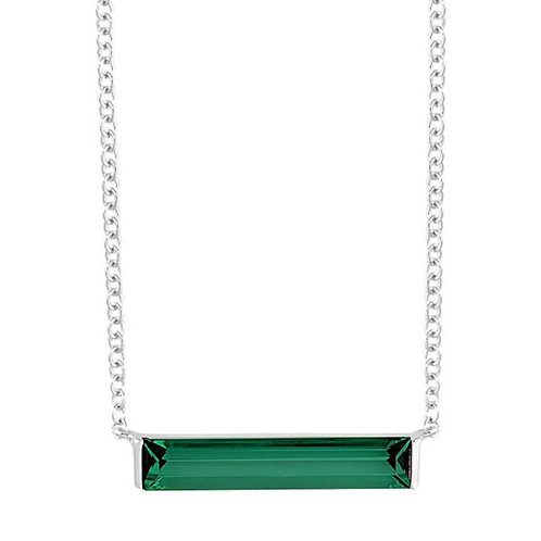 14K White Gold Lab Emerald Necklace