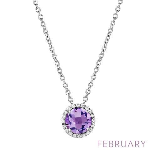 Sterling Silver February Birthstone Pendant