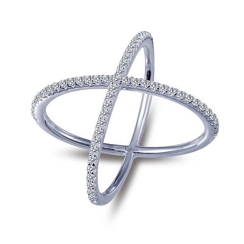 Ladies SS Simple Crisscross Ring