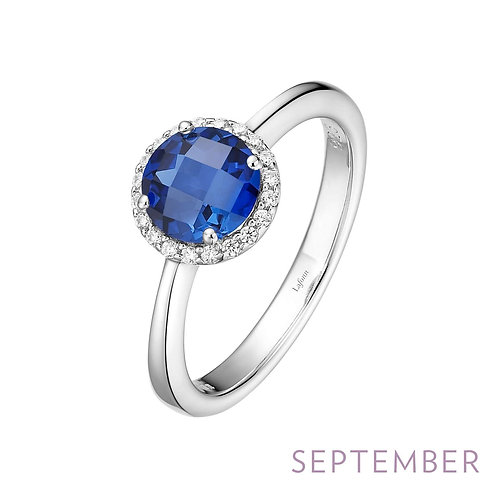 Sterling Silver Lab Sapphire/Simulated Diamond Ring