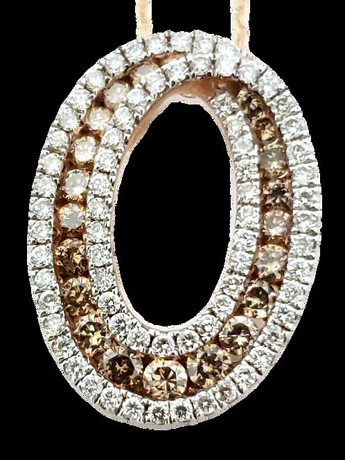 14KR .43cttw Chocolate/White Diamond Pendant