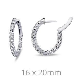 SS/Platinum 1.8cttw CZ Oval Hoop Earrings
