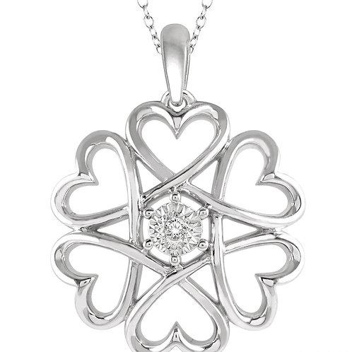 Sterling Silver Hearts Diamond Pendant