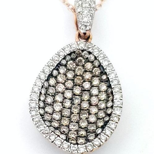 14KR .23cttw Chocolate/White Diamond Pendant