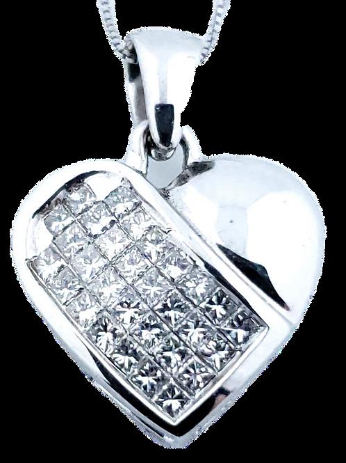 18KW .52cttw Diamond Heart Pendant