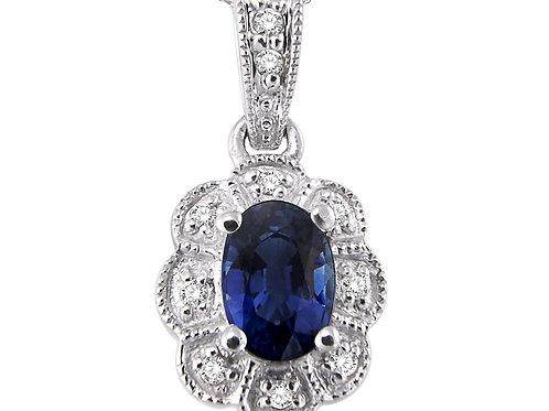 Sterling Silver Oval Sapphire & Diamond Pendant
