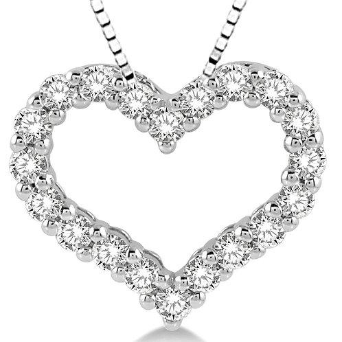 14K White Gold 1/4cttw Diamond Heart Pendant