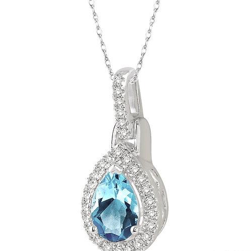 10KW Pear Shaped Aquamarine & Diamond Pendant