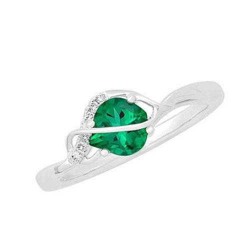 14K White Gold Lab Emerald & Diamond Ring