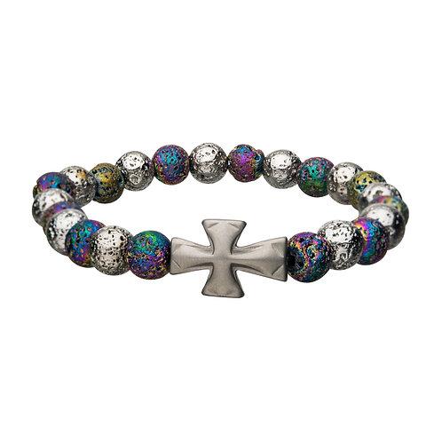 Men's Stainless Steel Lava Beads w/Cross Bracelet