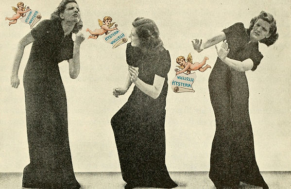 Collage by Charlie Fitz. An old sepia photograph of a white woman with short brown hair in a long, black short-sleeved dress. She is duplicated in three positions, ducking and putting her arms out, avoiding the three floating in colour naked cherubs surrounding her. The cherubs each hold a sign saying 'hysteria' in blue lettering on a white background.