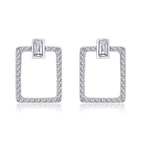 Open Rectangle Drop Earrings