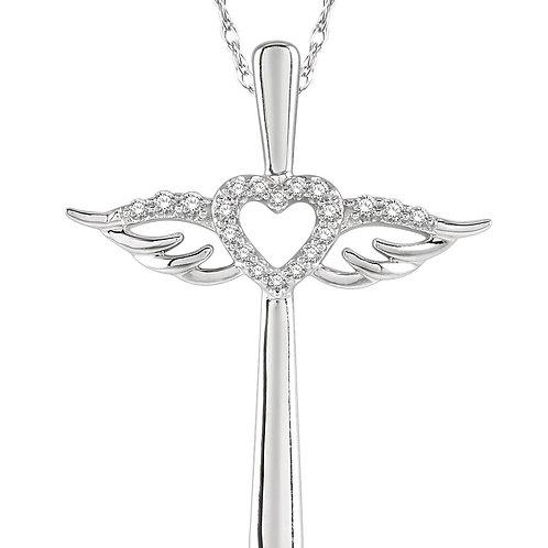 10KW Diamond Angel Wings Heart Shape & Cross Pendant