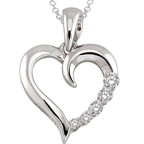 Sterling Silver Heart Journey Diamond Pendant