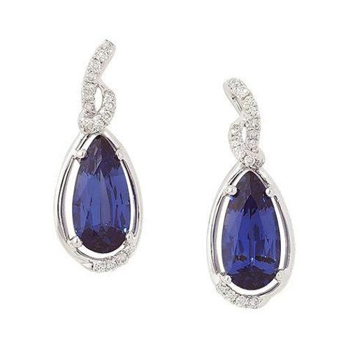 14KW Lab Sapphire & Diamond Earrings
