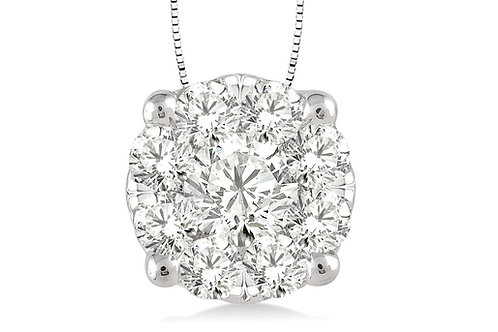 14K White Gold .50cttw 'WOW' Diamond Pendant