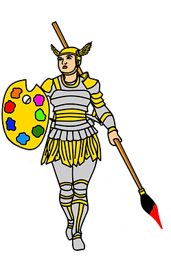 A cartoon by the artist Crippen. The cartoon is a drawing of Charlie as a warrior in silver and gold full body armour and a gold helmet with small wings on. She holds a large paintbrush and pallet.