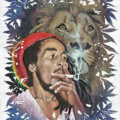 Bob Marley painted on cannabis
