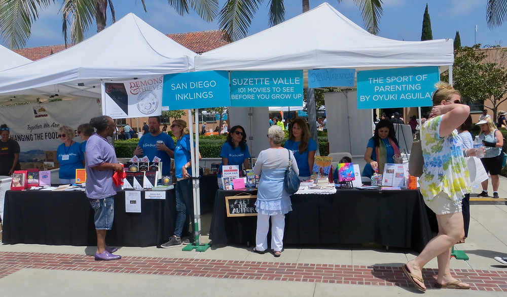 The San Diego Inklings' booth at the San Diego Festival of Books.
