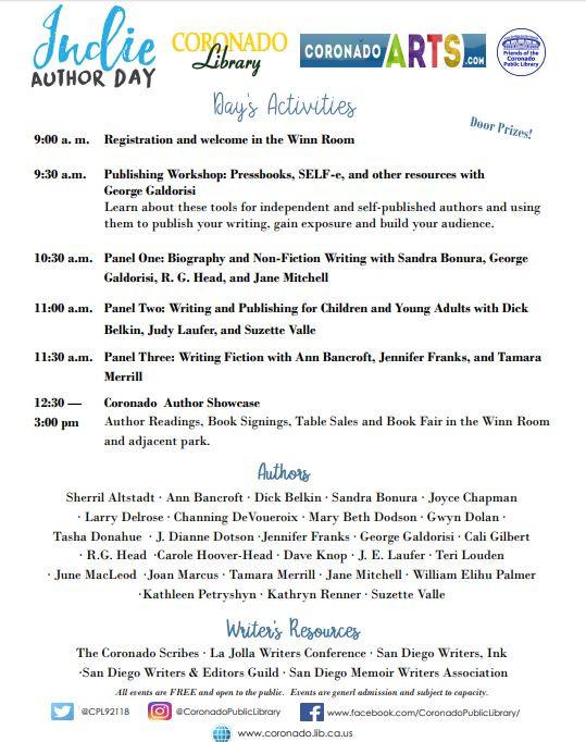 Schedule of Activities for Indie Author Day Coronado