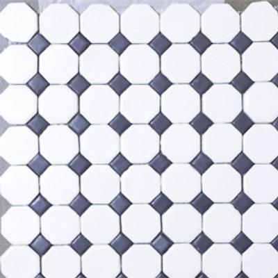 Pastilha Octagonal Preto com Branco