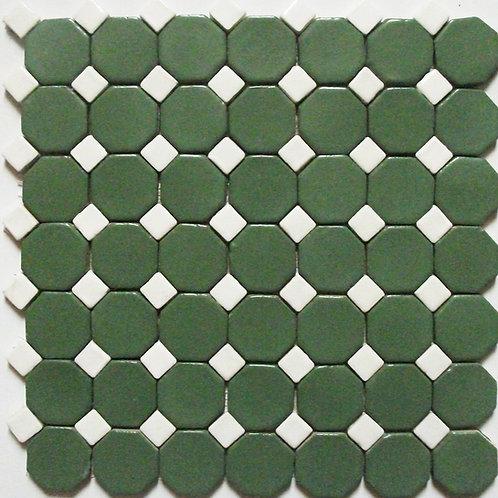 Pastilha Octagonal Verde com Tozeto Branco
