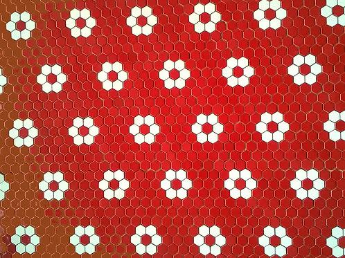 Pastilha Sextavada Módulo Flores Vermelho e Branco